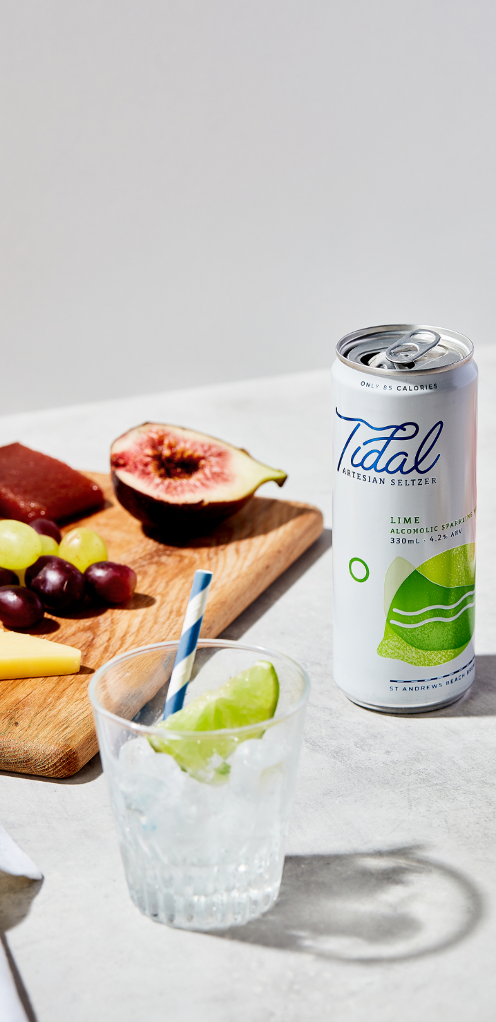 Alcoholic seltzer can with fruit