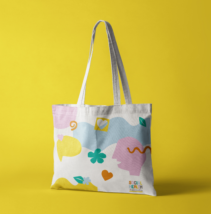 tote bag on yellow background